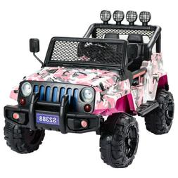 Pink 12V Kids Ride on Car Jeep Wrangler Electric Battery Toy