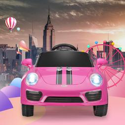 Pink Battery Powered Kids Ride on Car Electric Toys w/Headli