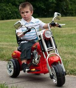 Motorized Cars For Kids- Red Plastic Steel Frame 3 Wheel Cho