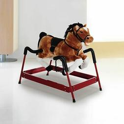 Qaba Kids Play Toy Plush Cowboy Rocking Horse Riding Spring