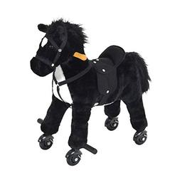 Qaba Plush Battery Powered Walking Horse Toy with Wheels and
