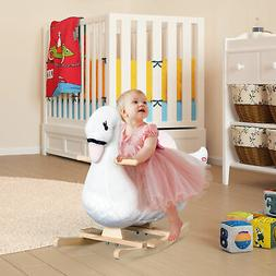 Qaba Plush Kids Ride On Toy Rocking Horse Swan Style Animal