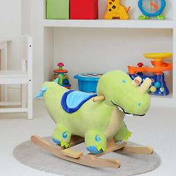 Qaba Kids Plush Ride-On Rocking Horse Toy Dinosaur Ride on R