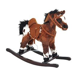 Qaba Kids Plush Toy Rocking Horse - Light Brown/White