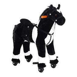 Kids Plush Ride On Toy Horse Walking Rolling Children Neigh