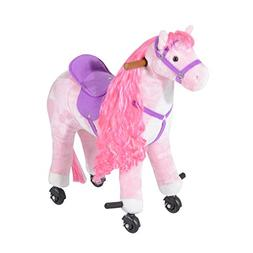 Qaba Kids Plush Ride On Walking Horse with Wheels Pink
