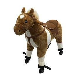 Qaba Kids Plush Ride On Walking Horse with Wheels - Brown