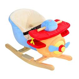 Qaba Kids Plush Rocking Horse Airplane w/ Nursery Rhyme Soun