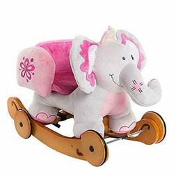 labebe - Plush Rocking Horse, Pink Ride Elephant, Stuffed