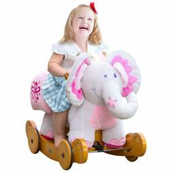 Labebe Plush Rocking Horse, Pink Ride Elephant, Stuffed Rock