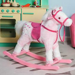 Qaba Kids Plush Rocking Horse Pony w/ Realistic Sounds - Pin