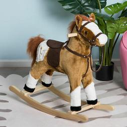 Qaba Kids Plush Rocking Horse Pony w/ Realistic Sounds - Bro