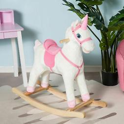 Qaba Kids Plush Rocking Horse Unicorn Ride on Toy Toddler Ro