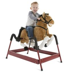 Plush Rocking Riding Bouncing Horse on Springs with Stirrups