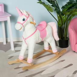 Qaba Plush Rocking Unicorn Kids Ride On Toy Pink Girl's Gift