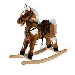 Qaba Kids Metal Plush Ride-On Rocking Horse Chair Toy with N