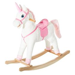Qaba Kids Metal Plush Ride-On Unicorn Rocking Horse Chair To