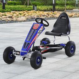 Qaba Powered Pedal Go Kart Metal Racer Kids Ride on Car, 4 W