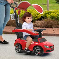 Red Kids Ride On Push Mercedes-Benz Car With Canopy Licensed
