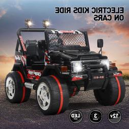 Ride On Cars Black Jeep 12V Electric Kids Toys W/RC 3 Speeds