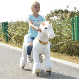 ride on unicorn with golden horn horse