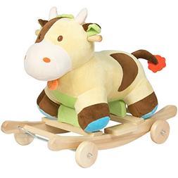 Best Choice Products Kids Ride On Plush Cow Animal Rocker W/