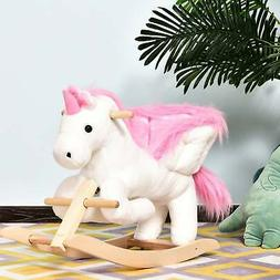 Qaba Kids Wooden Plush Ride-On Unicorn Rocking Horse Chair T