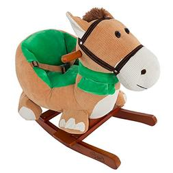 Rocking Horse Plush Animal on Wooden Rockers with Seat & Sea