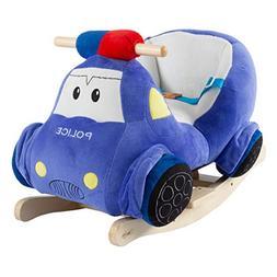Happy Trails Rocking Police Car Toy- Kids Plush Stuffed Ride