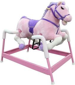 Spring Rocking Horse Kids Ride On Toy Pink Girls Animal Rock