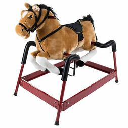 Spring Rocking Horse Plush Ride on Toy with Adjustable Foot