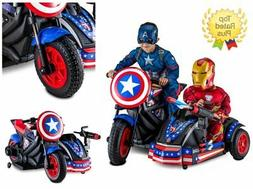 HOT Ride On Car Avengers Motorcycle with Side Car 2 Seater 1