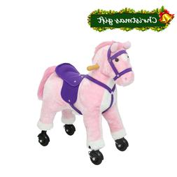 Rolling Kids Gift Spring Rocking Horse Pink Ride On Pony Toy