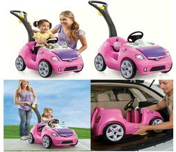 Step2 Whisper Ride II Kids Pink Ride On Push Pull Car Smooth