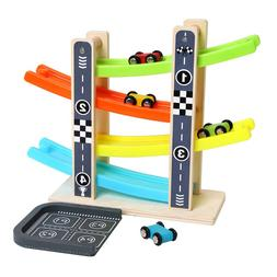 Wooden Train 4-Layer Race Track & 4 Mini Inertia Race Car Sl